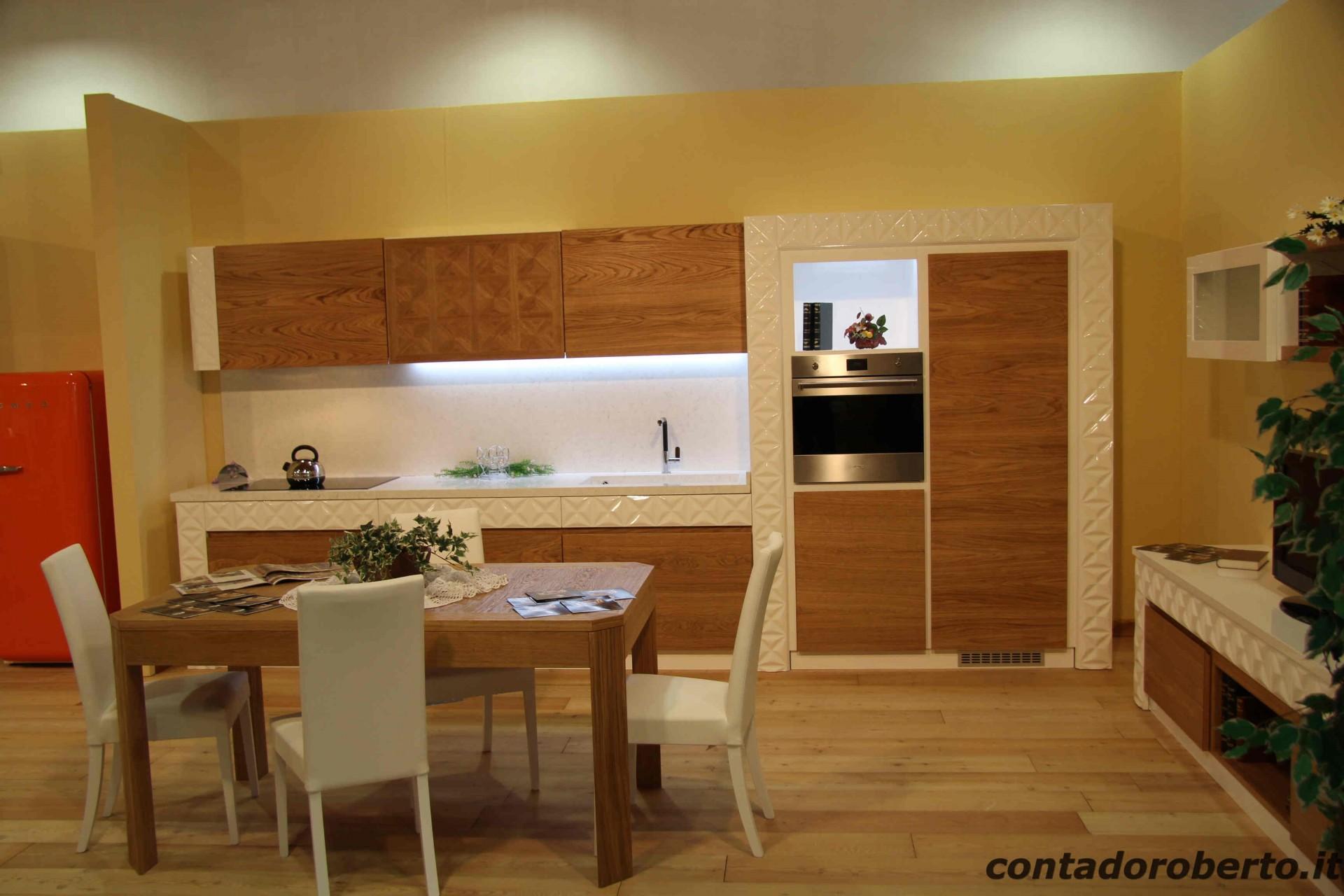 Cucina moderna verona in legno di rovere naturale laccato - Cucine moderne legno e laccato ...