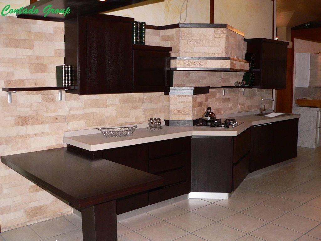 Cucina black line con pietra ricostruita contado roberto - Cucine a muratura moderne ...