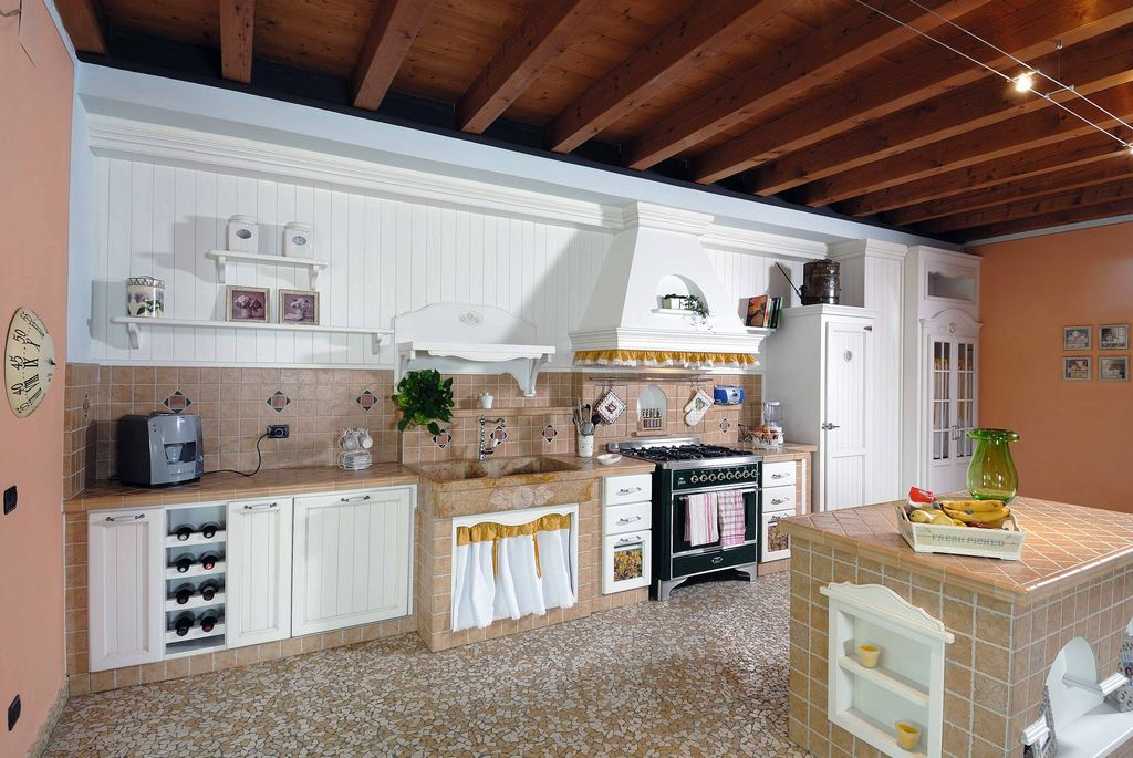 Cucina in Muratura Girasole con Gres Porcellanato | Contado ...