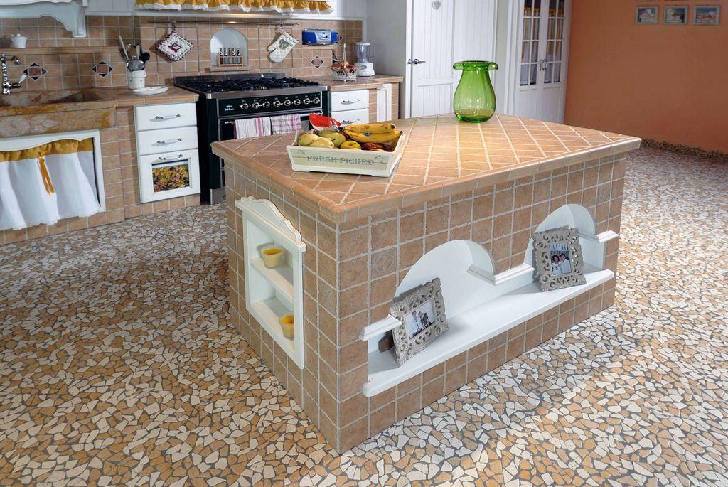 Cucina in muratura girasole con gres porcellanato contado roberto