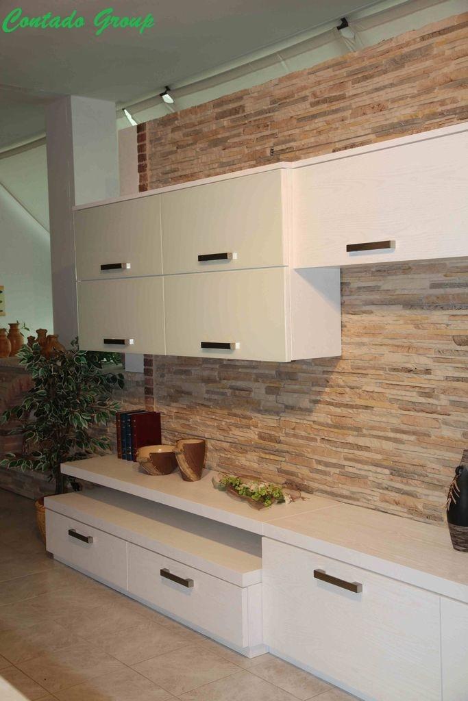 Soggiorno Moderno con Pietra Ricostruita | Contado Roberto Group ...